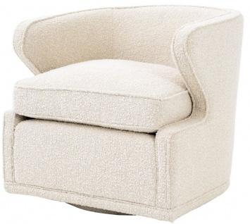 Casa Padrino Luxus Drehsessel Cremefarben 75 x 80 x H. 73 cm - Wohnzimmer Sessel - Luxus Qualität