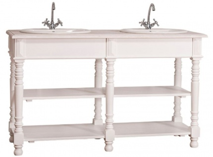 Casa Padrino Landhausstil Doppel Waschbeckenschrank Weiß / Hellgrau 150 x 54 x H. 90 cm - Massivholz Waschtisch - Badezimmermöbel im Landhausstil - Vorschau 2
