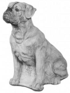 Casa Padrino Garten Deko Boxer Skulptur Grau H. 70 cm - Beton Hunde Figur
