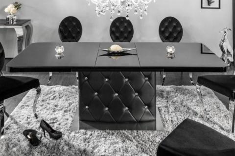 Casa Padrino Esstisch Schwarz / Silber 160-200 x 90 x H. 76 cm - Moderner Ausziehbarer Küchentisch mit Kunstleder und Strasssteinen - Esszimmer Möbel
