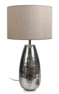 Casa Padrino Luxus Tischleuchte Silber / Taupe Ø 40 x H. 73 cm - Aluminium Tischlampe