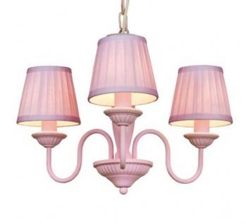 Barock Pendelleuchte mit Plissee-Schirm 3-Flammig, Rosa Leuchte Lampe