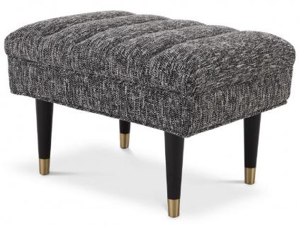 Casa Padrino Luxus Sitzbank Schwarz / Messingfarben 68 x 50 x H. 45 cm - Gepolsterte Massivholz Bank - Wohnzimmer Möbel - Hotel Möbel - Luxus Kollektion