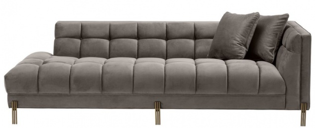 Casa Padrino Luxus Lounge Sofa Grau / Messingfarben 223 x 95 x H. 68 cm - Rechtsseitiges Wohnzimmer Sofa mit edlem Samtsoff und 2 Kissen - Vorschau 3