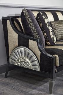 Casa Padrino Luxus Barock Wohnzimmer Set Rot / Schwarz / Gold / Silber - 2 Sofas & 2 Sessel & 1 Couchtisch & 1 Beistelltisch - Barock Wohnzimmermöbel - Vorschau 5