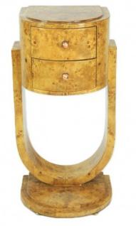 Casa Padrino Art Deco Schubladen Schrank Vogelaugenahorn - Handgefertigt aus Massivholz - Kommode Nachtschrank Nachttisch B!