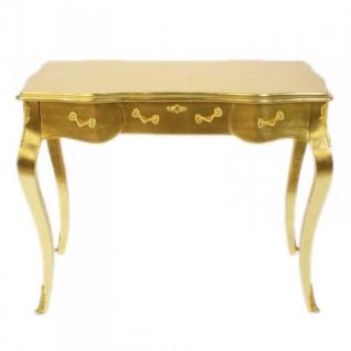 Casa Padrino Luxus Barock Schreibtisch / Konsole Gold ink. Glasplatte 97 x 78 x 48 cm - Sekretär Luxus Möbel