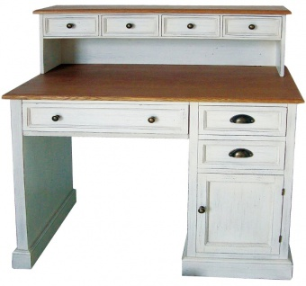Casa Padrino Landhausstil Schreibtisch Antik Weiß / Braun 100 x 51 x H. 108 cm - Schreibtisch im Shabby Chic Look