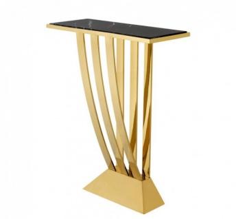 Casa Padrino Luxus Konsole Gold mit schwarzem Marmor - Art Deco Möbel