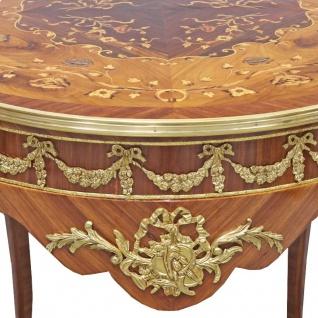 Casa Padrino Barock Beistelltisch Mahagoni Intarsien / Gold H78 x 76 cm - Ludwig XVI Antik Stil Tisch - Möbel - Vorschau 3