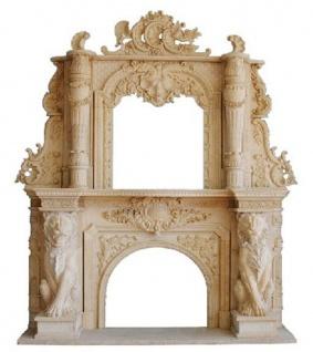Casa Padrino Luxus Barock Kaminumrandung Beige 280 x 65 x H. 350 cm - Handgefertigte Kaminumrandung aus hochwertigem Marmor - Edel & Prunkvoll