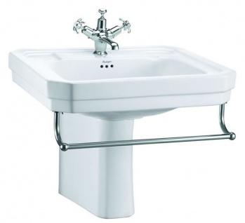 Casa Padrino Luxus Porzellan Waschbecken mit halben Sockel und Handtuchhalter 61 x 51 x H. 50 cm