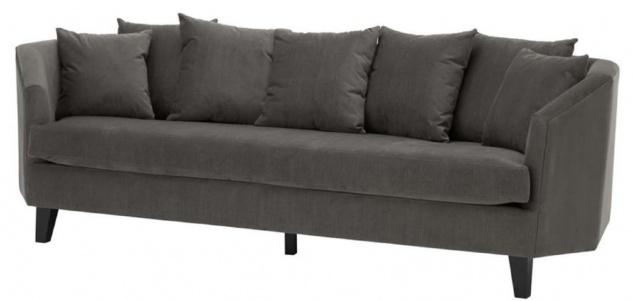 Casa Padrino Luxus Sofa mit Kissen Dunkelgrau / Schwarz 240 x 95 x H. 78 cm - Luxus Wohnzimmermöbel