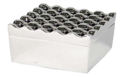 Casa Padrino Luxus Aluminium Aschenbecher mit Deckel Silber - Designer Accessoires