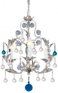 Casa Padrino Luxus Barock Kronleuchter Silber / Blau Ø 39 x H. 50 cm - Prunkvoller Kronleuchter mit Murano Glas - Luxus Qualität
