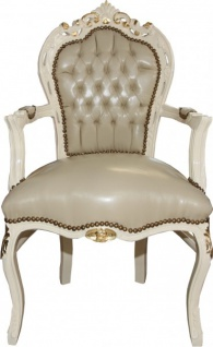Casa Padrino Barock Esszimmer Stuhl Creme Lederoptik / Gold Mod1 - Barock Möbel - Limited Edition