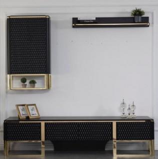 Casa Padrino Luxus TV Schrank Set Schwarz / Gold 220 x 50 x H. 53 cm - 1 TV Schrank & 1 Hängeschrank & 1 Wandregal - Luxus Wohnzimmer Möbel