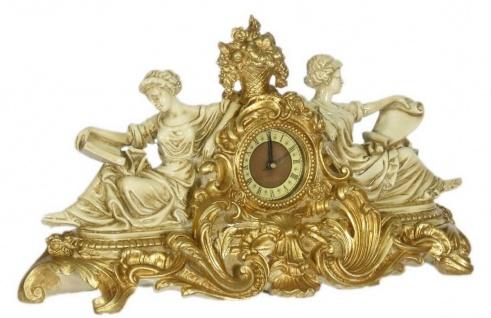 Casa Padrino Barock Tischuhr Creme / Gold 27 x 11 x H. 49 cm - Prunkvolle Tischuhr im Barockstil - Vorschau 2