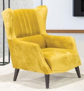 Casa Padrino Luxus Ohrensessel Gelb / Schwarz 80 x 80 x H. 90 cm - Moderner Wohnzimmer Sessel - Wohnzimmer Möbel