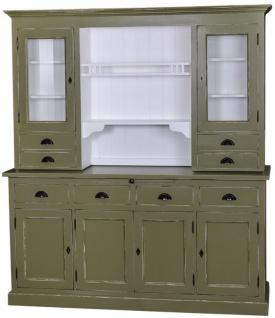 Casa Padrino Landhausstil Küchenschrank Antik Grün / Weiß 179 x 50 x H. 197 cm - 2 Teiliger Shabby Chic Küchenschrank mit 6 Türen und 8 Schubladen