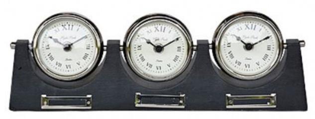 Casa Padrino Luxus 3er Tischuhr Silber / Schwarz 38 cm - Deko Uhr