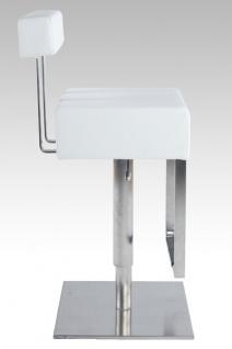 Casa Padrino Barstuhl Eckig Kunstleder Weiß mit Rückenlehne , Barhocker, gepolstert, drehbar, höhenverstellbar - Vorschau 3