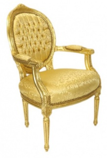 Casa Padrino Luxus Barock Medaillon Salon Stuhl Gold Muster / Gold - Möbel Antik Stil - Vorschau 2