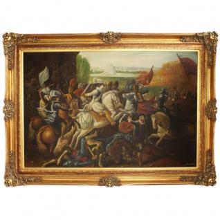 Riesiges Handgemaltes Barock Öl Gemälde Krieg Mod.2 Gold Prunk Rahmen 225 x 165 x 10 cm - Massives Material