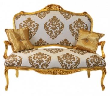 Casa Padrino Barock Sofa Weiss-Gold Muster / Gold - italienischer Stil - Barock Möbel