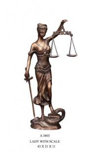 Casa Padrino Luxus Bronzefigur Lady with Scale - Bronze Justitia Figur Büste Anwalt Notar - Frau mit Waage
