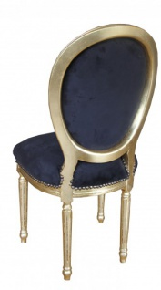 Casa Padrino Barock Esszimmer Stuhl Schwarz / Gold Rund mit Bling Bling Steinen Mod2 - Vorschau 2