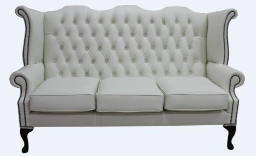 Casa Padrino Luxus Echtleder 3er Sofa Weiß Vintage Antik Look 183 x 90 x H. 105 cm - Chesterfield Sofa
