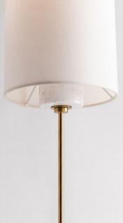 Casa Padrino Luxus Tischleuchte Antik Messing / Weiß Ø 15, 9 x H. 55, 9 cm - Moderne runde Tischlampe mit Lampenschirm aus Kunstseide und Marmorsockel - Vorschau 3