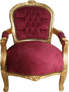 Casa Padrino Barock Kinder Stuhl Bordeaux/Gold - Armlehnstuhl - Antik Stil Möbel