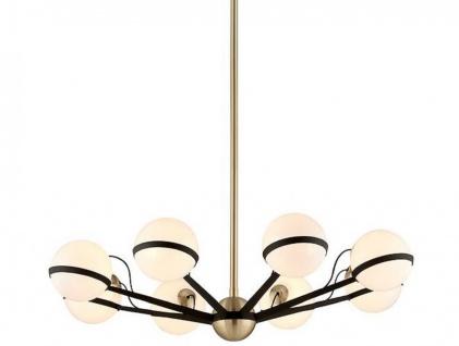 Casa Padrino Luxus LED Kronleuchter Bronze / Messing / Weiß Ø 95, 9 x H. 22, 9 cm - Kronleuchter mit kugelförmigen Lampenschirmen - Luxus Qualität - Vorschau 1
