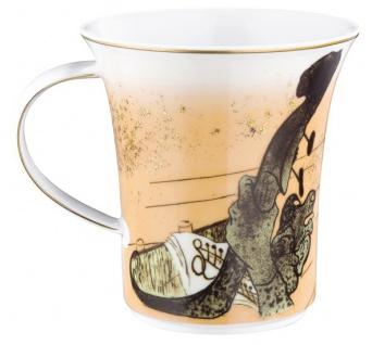"""Handgearbeiteter Becher mit Henkel aus Porzellan mit einem Motiv von T. Lautrec """" Jane Avril"""" 0, 25 Ltr. - feinste Qualität aus der Tettau Porzellanfabrik - Vorschau 2"""