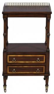 Casa Padrino Luxus Jugendstil Beistelltisch mit 2 Schubladen Dunkelbraun / Gold 42 x 33 x H. 74 cm - Telefontisch mit Rollen - Vorschau 3
