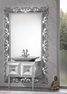 Casa Padrino Luxus Barock Badezimmer Set Silber - Waschtisch mit Waschbecken und Wandspiegel - Prunkvolle Badezimmermöbel im Barockstil