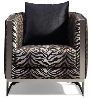 Casa Padrino Luxus Sessel Tiger Muster / Silber 77 x 83 x H. 77 cm - Wohnzimmer Sessel mit dekorativem Kissen - Wohnzimmer Möbel - Luxus Kollektion