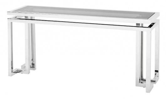 Casa Padrino Luxus Konsole Edelstahl / getöntes Glas 160 x 45 x H. 76 cm - Konsolen Tisch - Sekretär Konsole - Telefontisch - Hotel Möbel