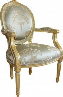Casa Padrino Luxus Barock Medaillon Salon Stuhl Grün Muster / Gold Modell Versailles - Möbel Antik Stil - Vorschau 2