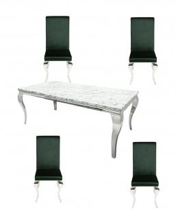 Casa Padrino Designer Esszimmer Set Edelgrün / Silber / Weiss - Esstisch 180 cm + 4 Stühle - Modern Barock
