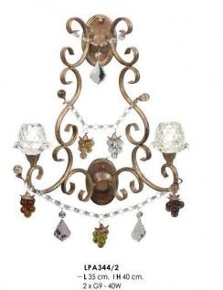 Wandleuchte mit farbigen Glasperlen im Barock Stil, Durchmesser 35 cm, Höhe 40 cm, 2-flammig, Leuchte Lampe LPH344-2