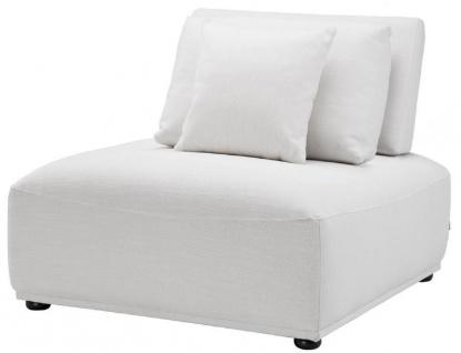 Casa Padrino Luxus Sessel Weiß / Schwarz 93 x 109 x H. 83 cm - Wohnzimmer Sessel mit Rückenlehne und 2 Kissen - Wohnzimmer Möbel
