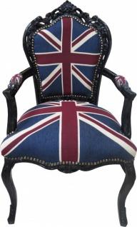 Casa Padrino Barock Esszimmer Stuhl mit Armlehnen Union Jack / Schwarz - Antik Stil Möbel