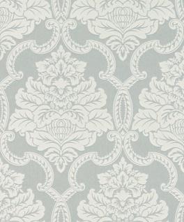 Casa Padrino Barock Textiltapete Silbergrau / Weiß 10, 05 x 0, 53 m - Barock Tapete - Deko Accessoires