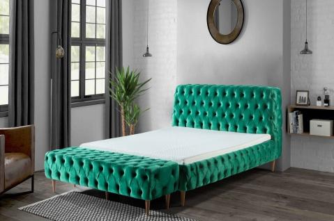 Casa Padrino Luxus Chesterfield Doppelbett Grün / Braun - Verschiedene Größen - Modernes Bett mit Matratze und Sitzbank - Schlafzimmer Möbel - Vorschau 5