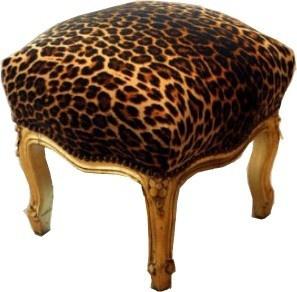 Casa Padrino Barock Fußhocker Leopard / Gold - Möbel