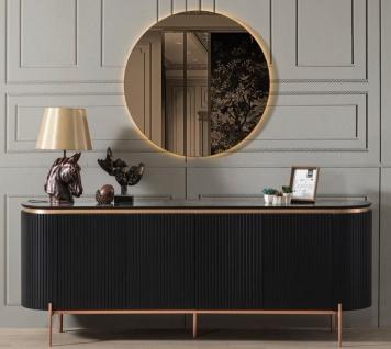 Casa Padrino Luxus Sideboard Schwarz / Kupferfarben 208 x 60 x H. 80 cm - Edler Schrank mit 4 Türen und Glasplatte in Marmoroptik - Luxus Möbel