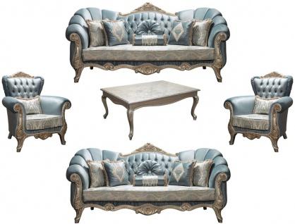 Casa Padrino Luxus Barock Wohnzimmer Set Türkis / Antik Silber - 2 Sofas & 2 Sessel & 1 Couchtisch - Möbel im Barockstil - Edel & Prunkvoll